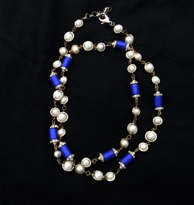 Stunning Cobalt Enamel, Faux Pearl and Diamond Strand