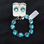 Pewter and Turquoise Rhinestone Bracelet and Earrings