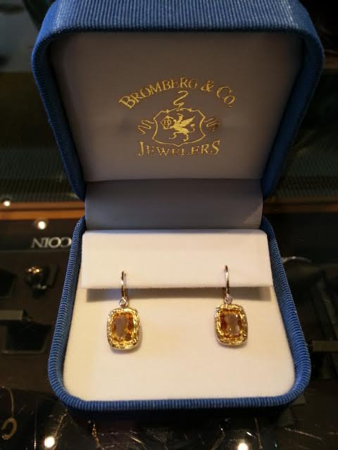 Exquisite Citrine and Diamond Earrings Featuring 14t. Yellow Gold